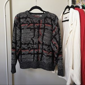 Vintage Gray, Red, and Black Knit Sweater